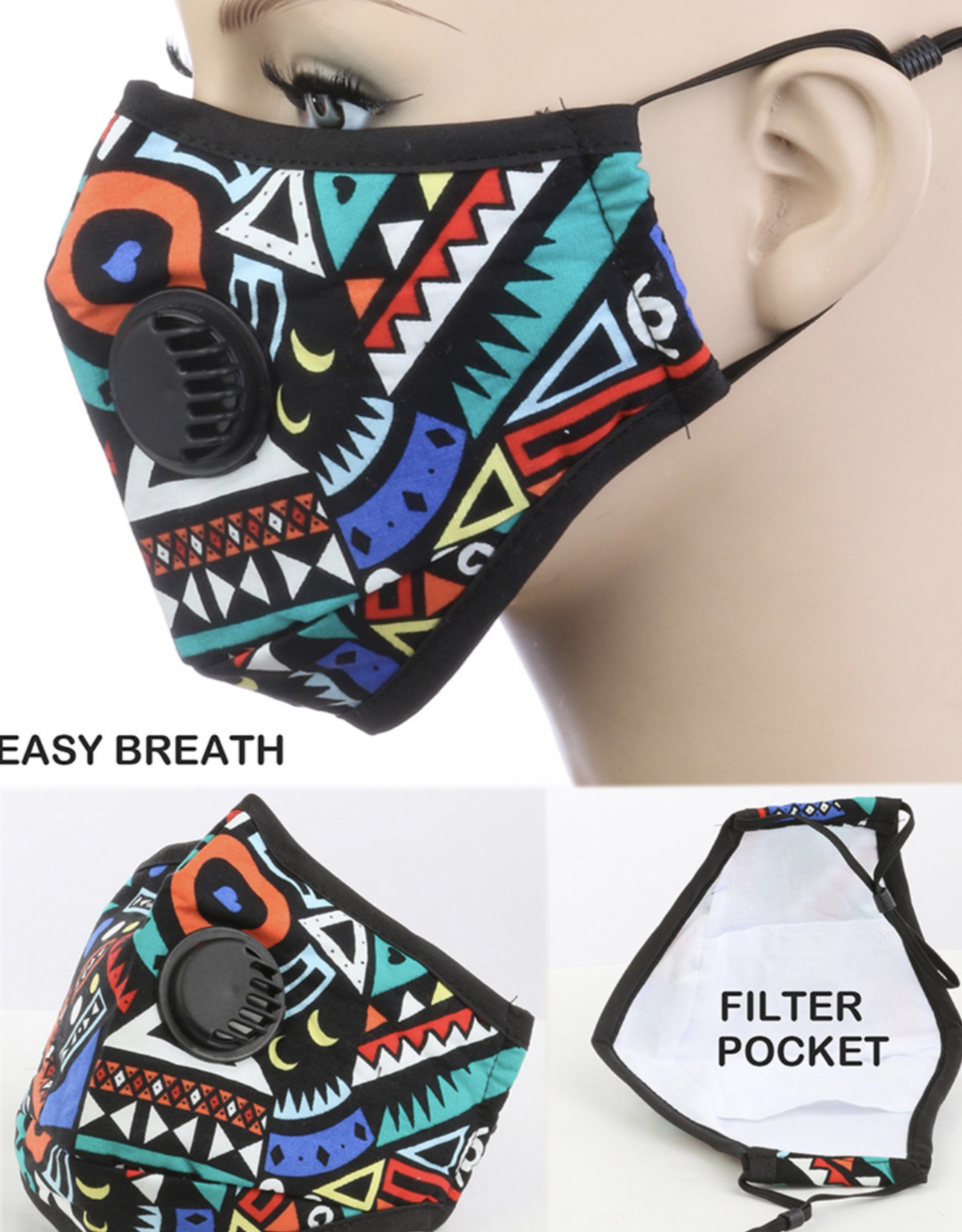 FACE MASK COTTON EZ BREATHE RESPIRATOR W/ FILTER POCKET RED GEOMETRIC