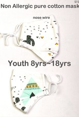 FACE MASK COTTON YOUTH 8-18YR FILTER POCKET CACTUS TEEPEE