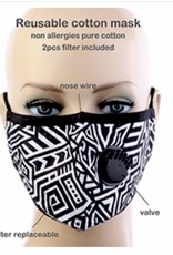 FACE MASK COTTON EZ BREATHE RESPIRATOR W/  FILTER POCKET BLACK WHITE MAZE