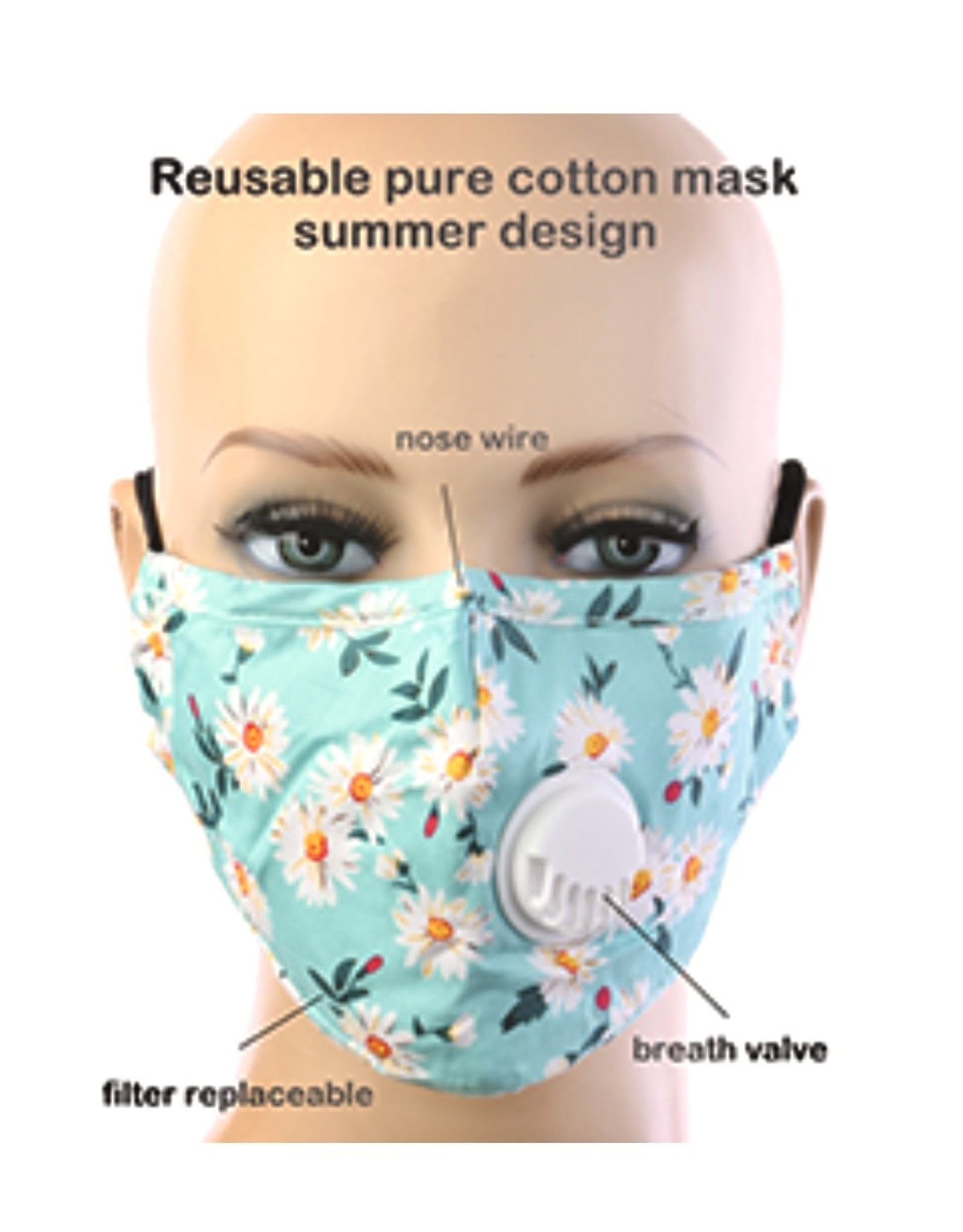FACE MASK COTTON EZ BREATHE RESPIRATOR W/ FILTER POCKET GREEN DAISY