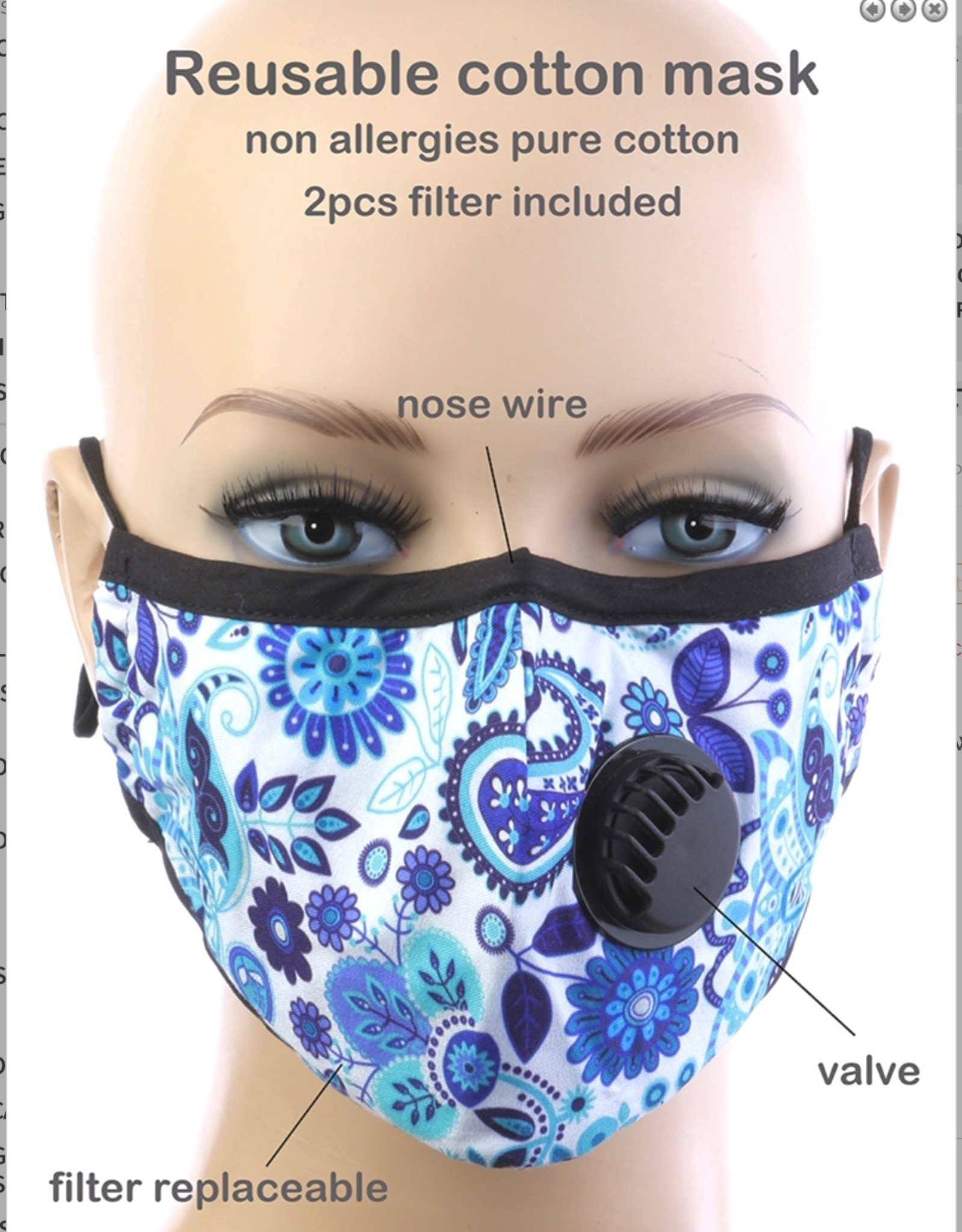 FACE MASK COTTON EZ BREATHE RESPIRATOR W/ 2 KN95 FILTER BLUE PRINT