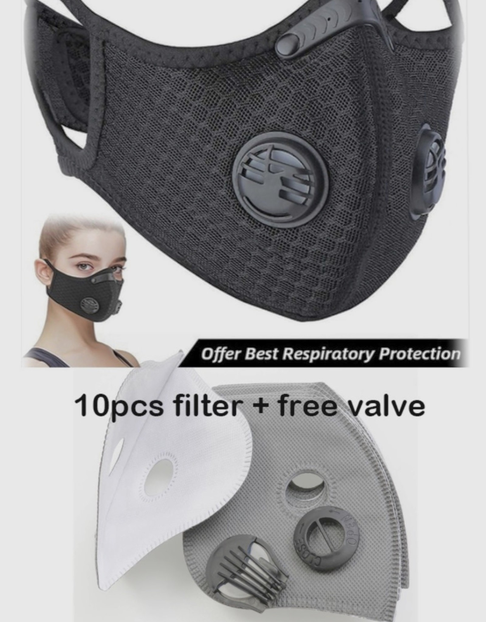 FACE MASK SPORT 10 PACK 5 LAYER FILTERS (no mask included)