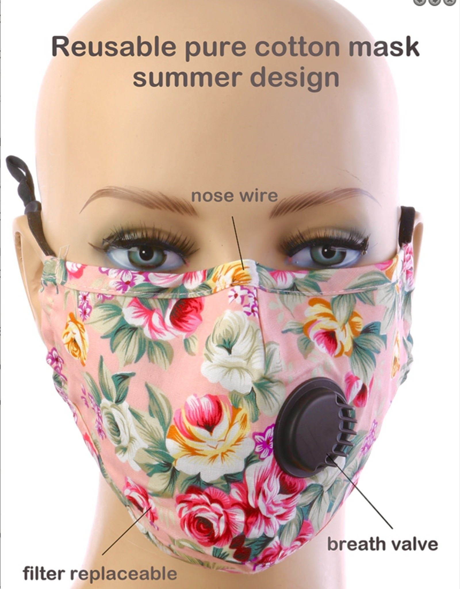 FACE MASK COTTON EZ BREATHE RESPIRATOR W/ FILTER POCKET PEACH FLORAL