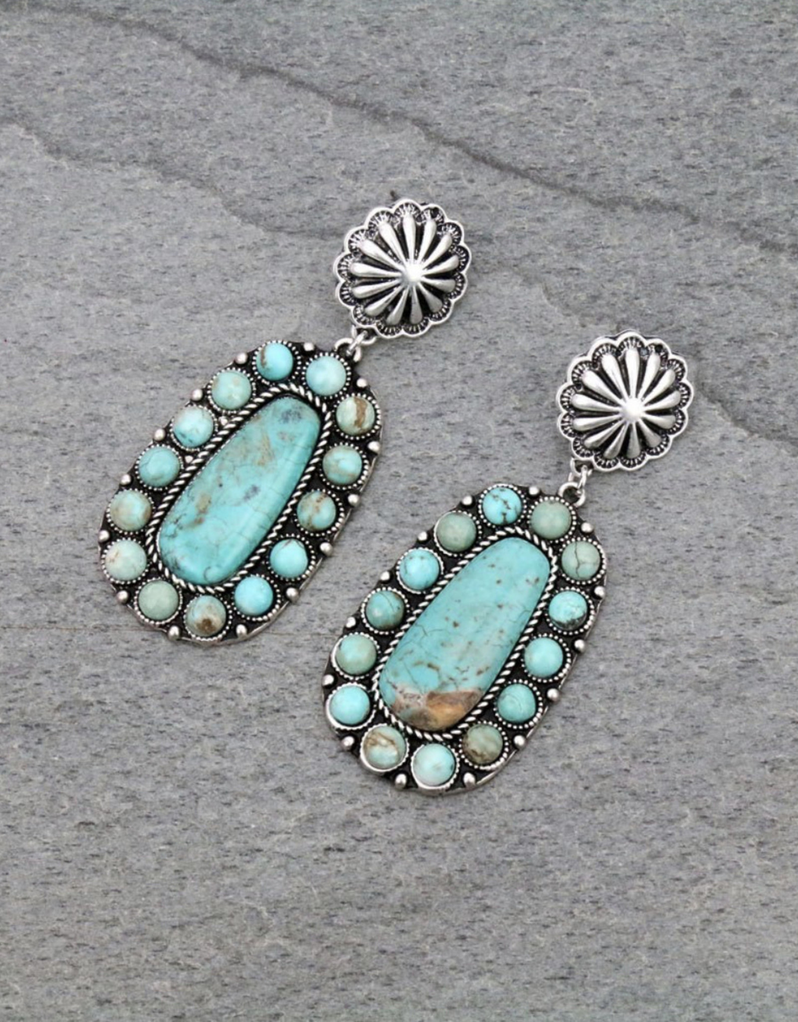 EARRING NATURAL STONE TURQ CONCHO POST