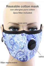 FACE MASK COTTON EZ BREATHE RESPIRATOR W/ FILTER POCKET LIGHT BLUE PAISLEY