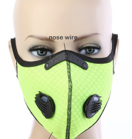 FACE MASK OUTDOOR SPORTS 2 RESPIRATOR VALVE W KN95 FILTER NEON GREEN
