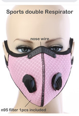 FACE MASK OUTDOOR SPORTS 2 RESPIRATOR VALVE W KN95 FILTER PINK