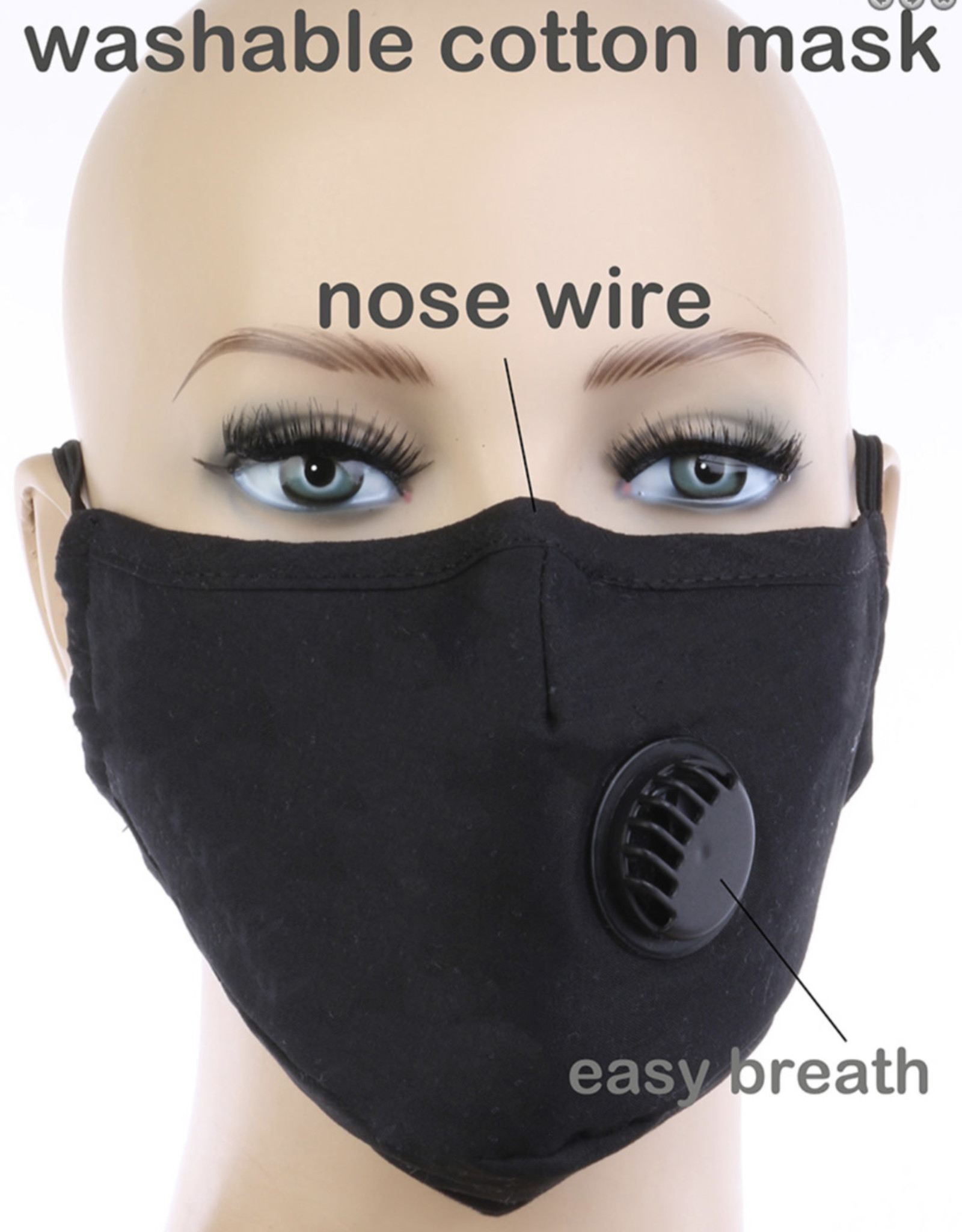 FACE MASK COTTON EZ BREATHE RESPIRATOR W/ FILTER POCKET BLACK W BLACK VALVE