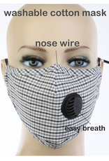 FACE MASK EZ BREATH W FILTER POCKET BLACK GRAY CHECK