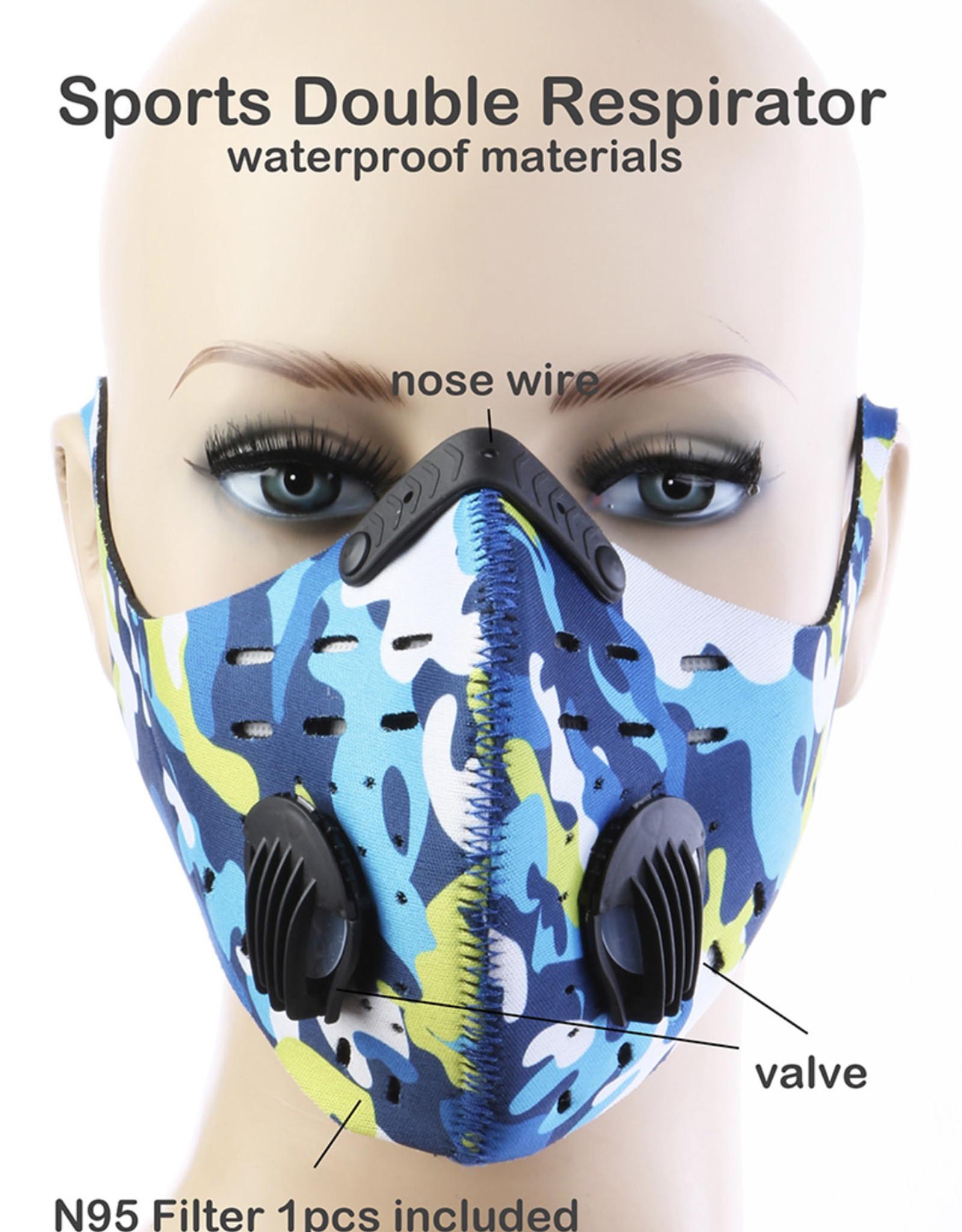 FACE MASK OUTDOOR SPORTS 2 RESPIRATOR VALVE W KN95 FILTER BLUE GREEN SPOT WATERPROOF MATERIALS