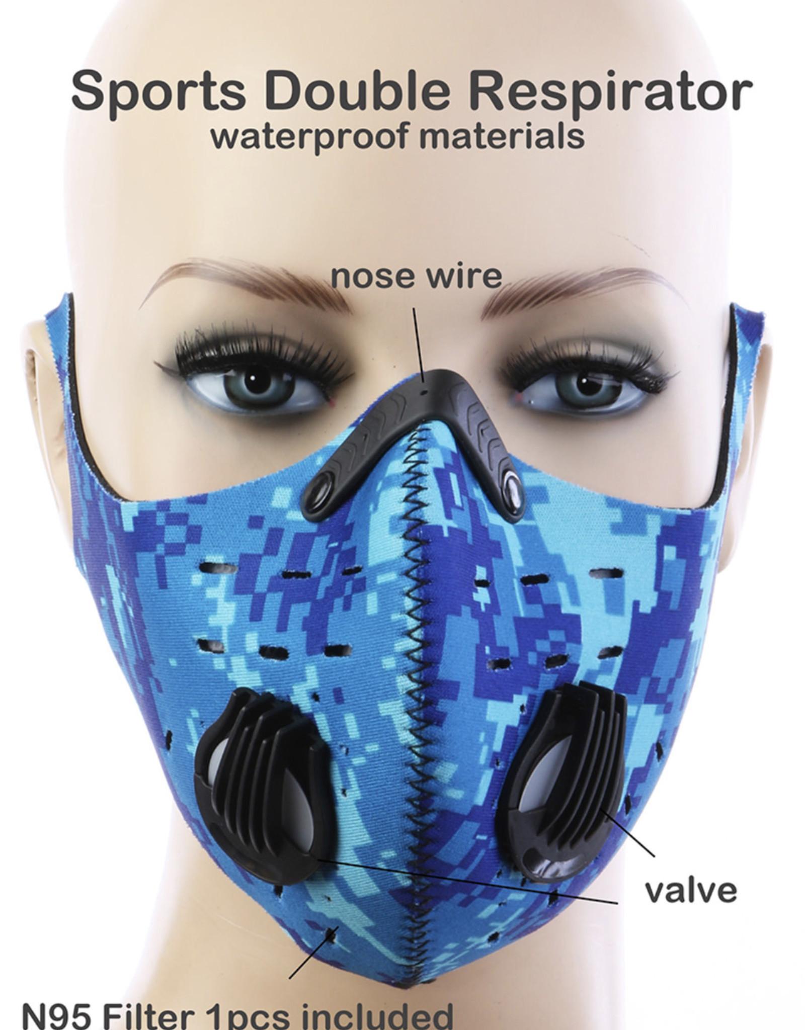 FACE MASK OUTDOOR SPORTS 2 RESPIRATOR VALVE W KN95 FILTER BLUE DIGITAL WATERPROOF MATERIALS
