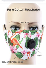 FACE MASK COTTON EZ BREATHE RESPIRATOR W/ FILTER POCKET FLAMINGO