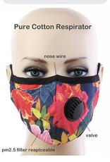 FACE MASK COTTON EZ BREATHE RESPIRATOR W/ FILTER POCKET TROPICAL RED