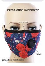 FACE MASK COTTON EZ BREATHE RESPIRATOR W/ FILTER POCKET NAVY BLUE/RED ROSE
