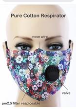 FACE MASK COTTON EZ BREATHE RESPIRATOR W/ FILTER POCKET HIBISCUS FLOWER