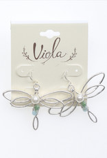 EARRINGS BEADED SILVER BUTTERFLY