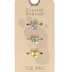 TOE RINGS 3PC BUTTERFLY