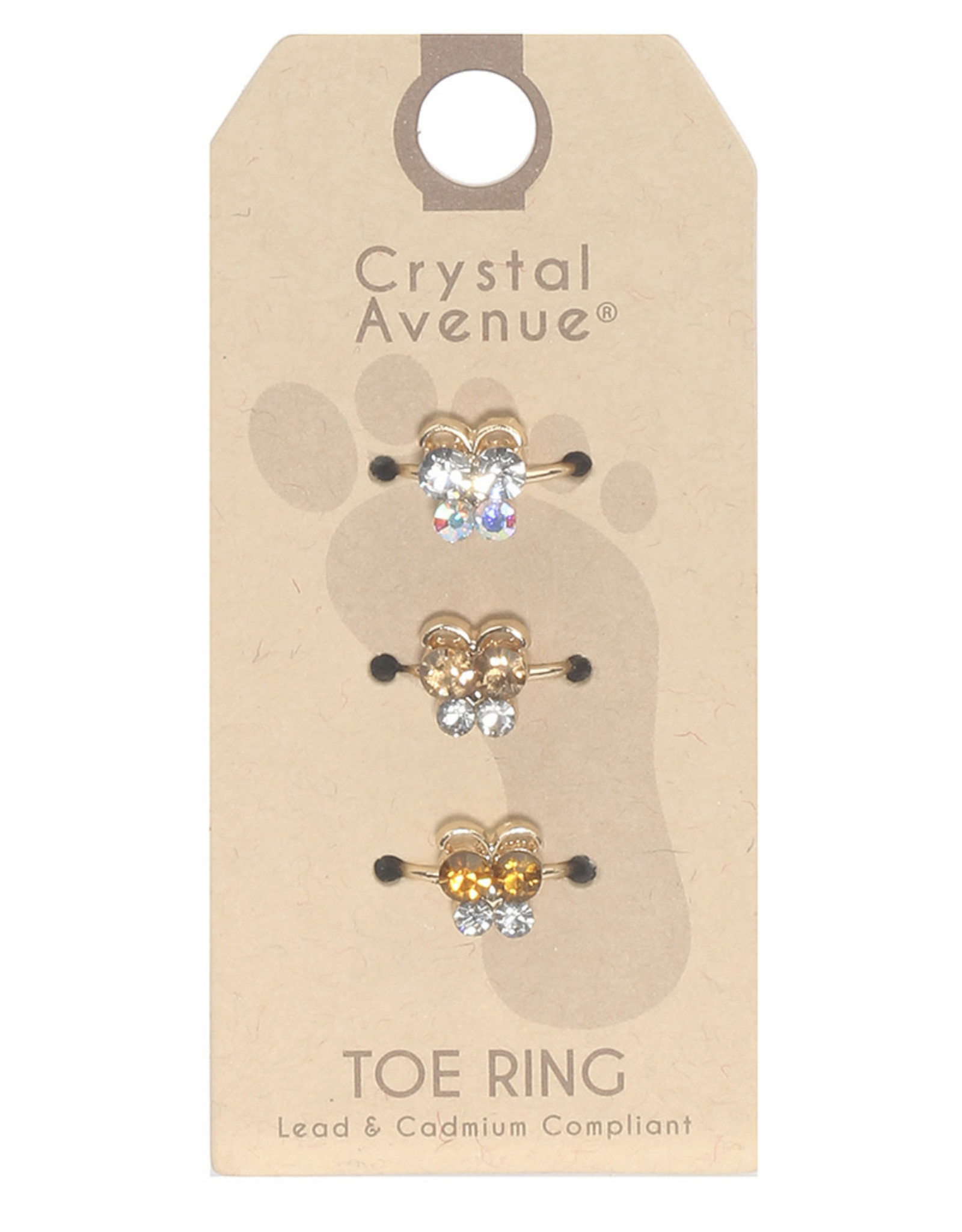 TOE RINGS 3PC BROWN/SILVER