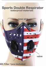 FACE MASK OUTDOOR SPORTS 2 RESPIRATOR VALVE W KN95 FILTER FLAGS WATERPROOF MATERIAL
