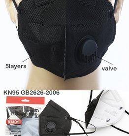 FACE MASK KN95 DISPOSABLE EZ BREATHE RESPIRATOR BLACK EACH