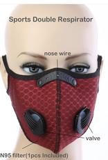 FACE MASK OUTDOOR SPORTS 2 RESPIRATOR VALVE W KN95 FILTER MAROON WINE