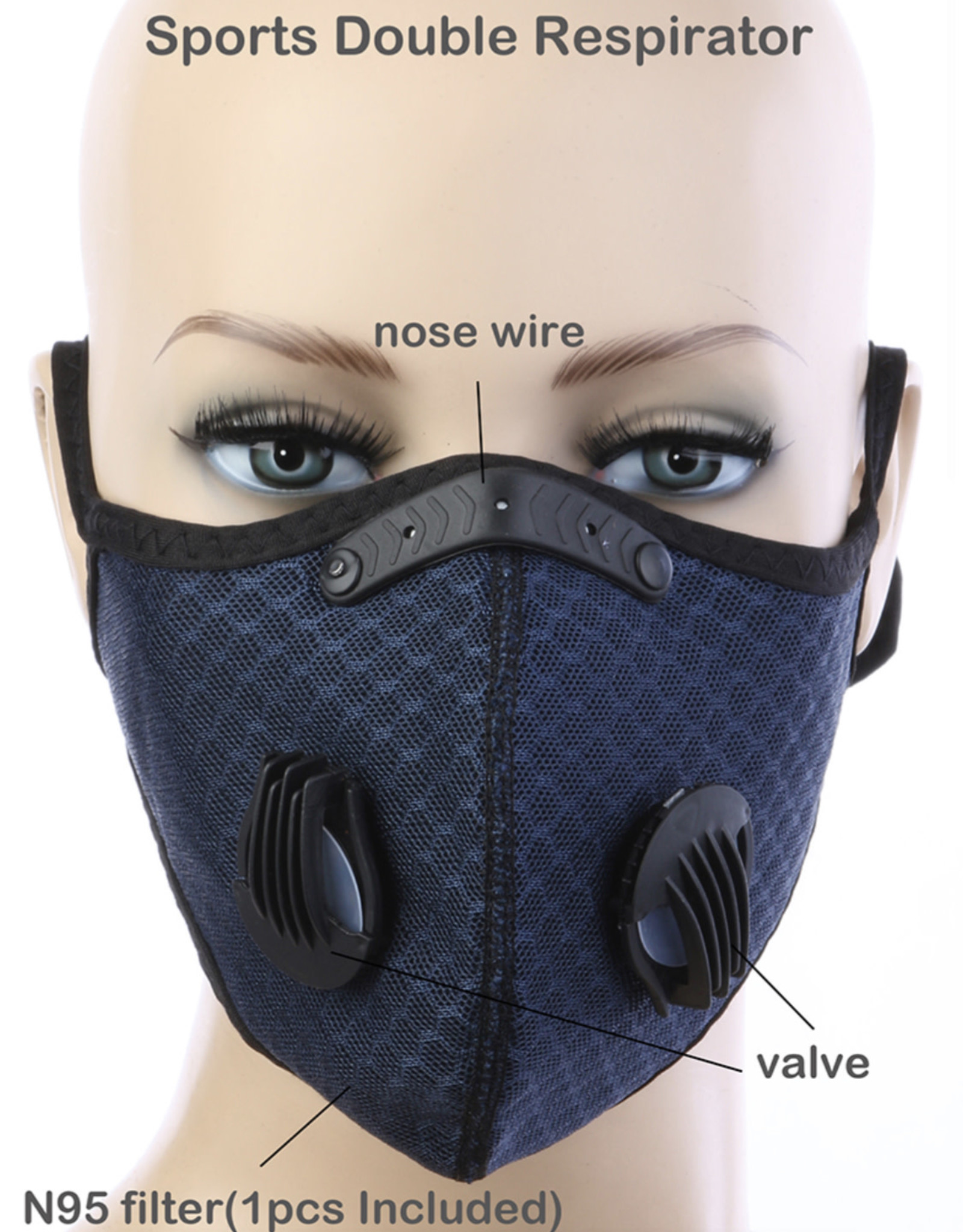 FACE MASK OUTDOOR SPORTS 2 RESPIRATOR VALVE W KN95 FILTER NAVY