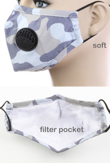 FACE MASK EZ BREATH RESPIRATOR COTTON W/ FILTER POCKET CAMO WHITE