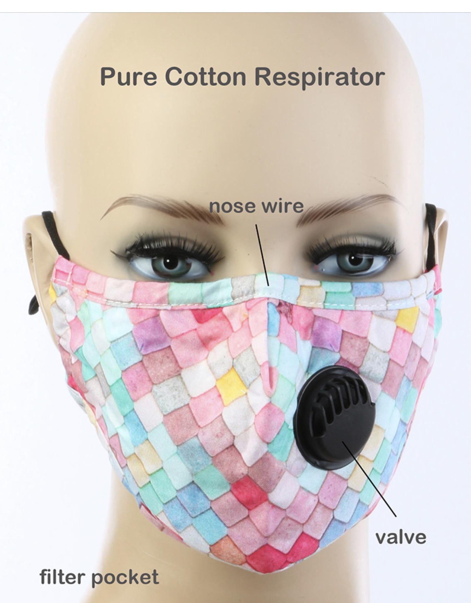 FACE MASK COTTON EZ BREATHE RESPIRATOR W/ FILTER POCKET QUILT LOOK