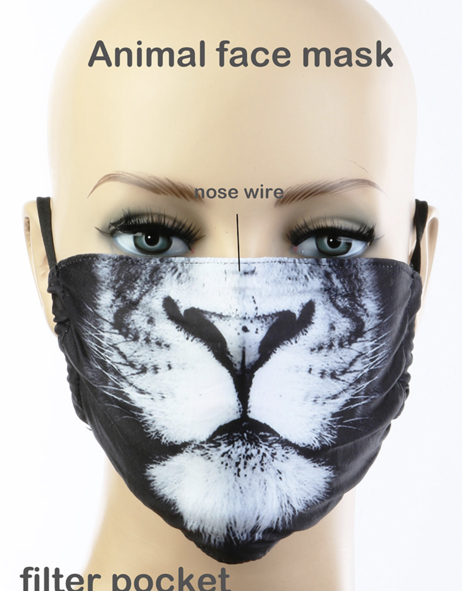 FACE MASK LION CLOTH LINED REUSABLE