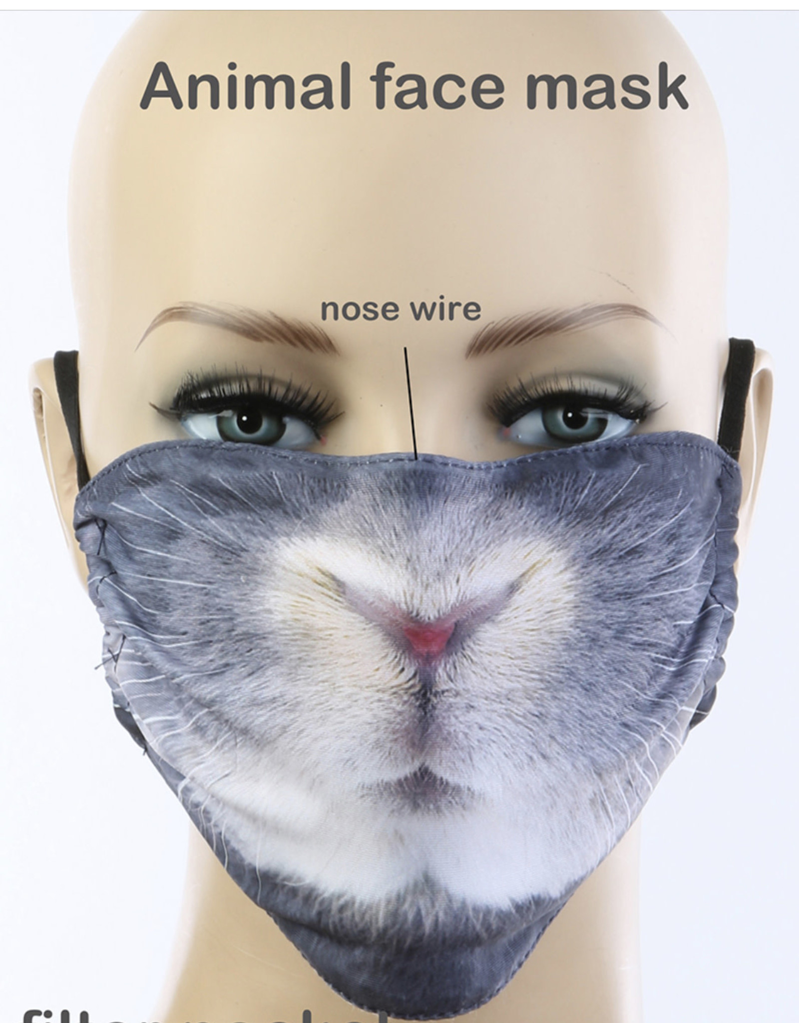 FACE MASK RABBIT CLOTH LINED REUSABLE