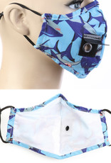 FACE MASK VELCRO STRAW HOLE FOR DRINKING SHARK