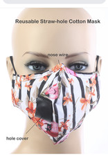 FACE MASK VELCRO STRAW HOLE FOR DRINKING STRIPE FLORAL