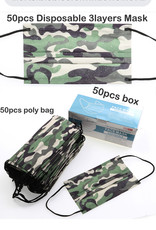 FACE MASK 50 PACK DISPOSABLE CAMO 3 LAYER