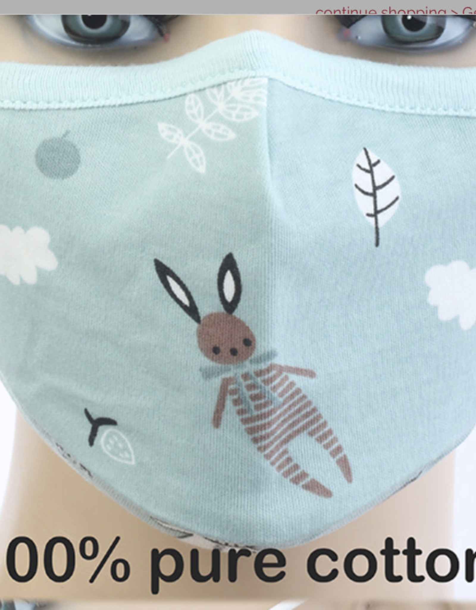 FACE MASK COTTON YOUTH 8-18YR 1 KN95 FILTER RABBITS GREEN