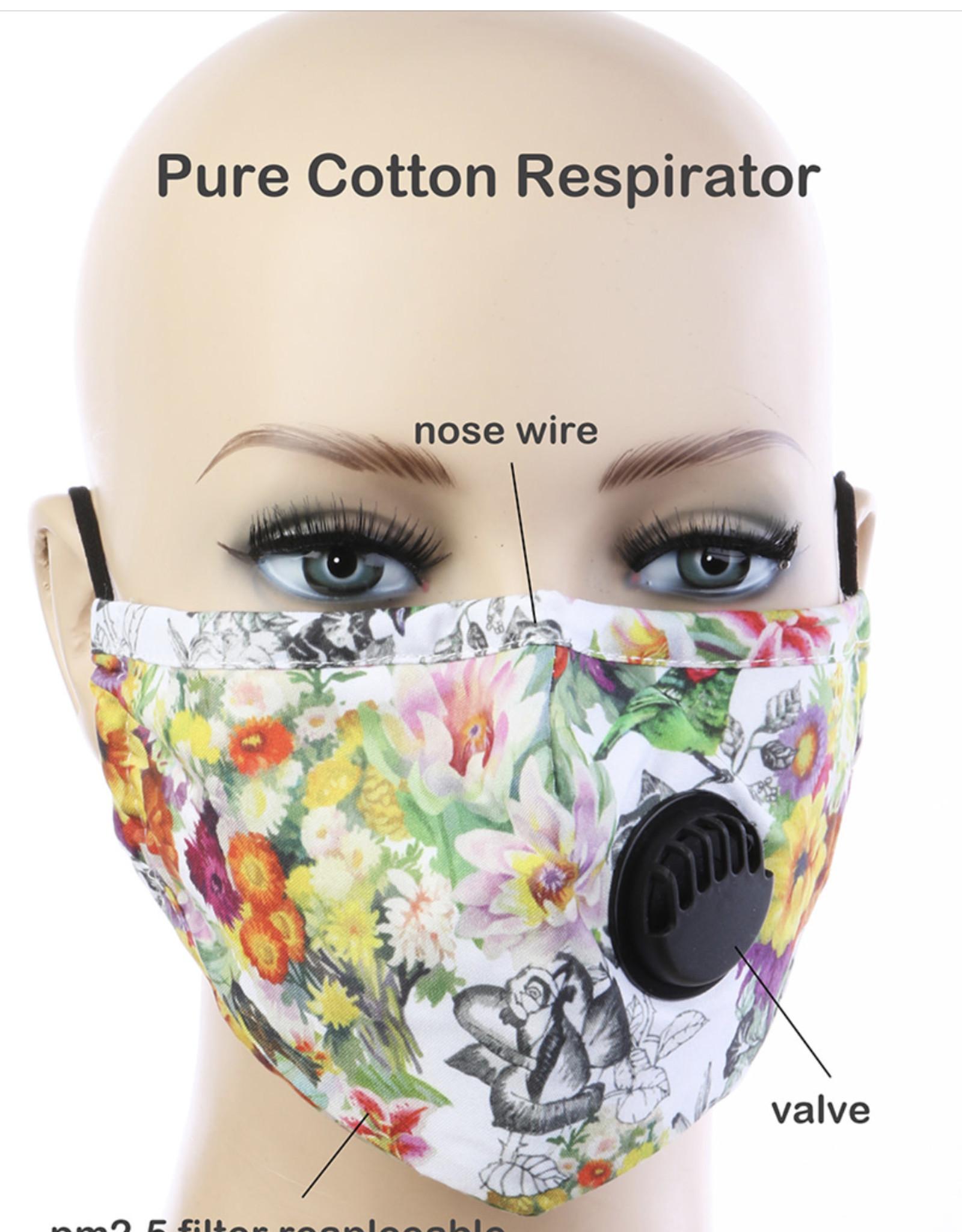 FACE MASK COTTON EZ BREATHE RESPIRATOR W/ FILTER POCKET FLORAL WHITE