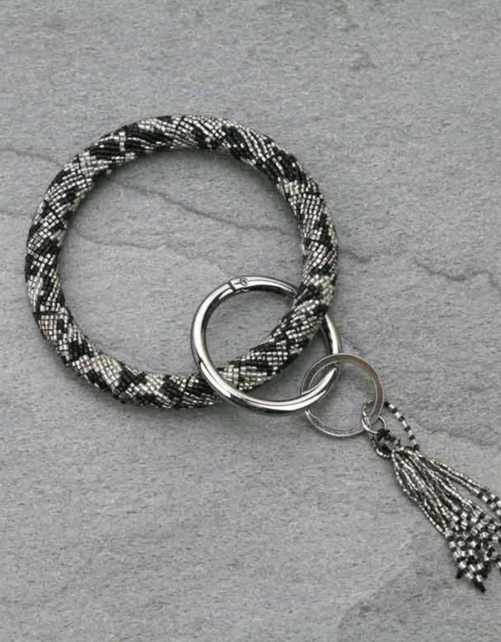 BRACELET BLACK/SILVER SEAD BEAD KEY RING