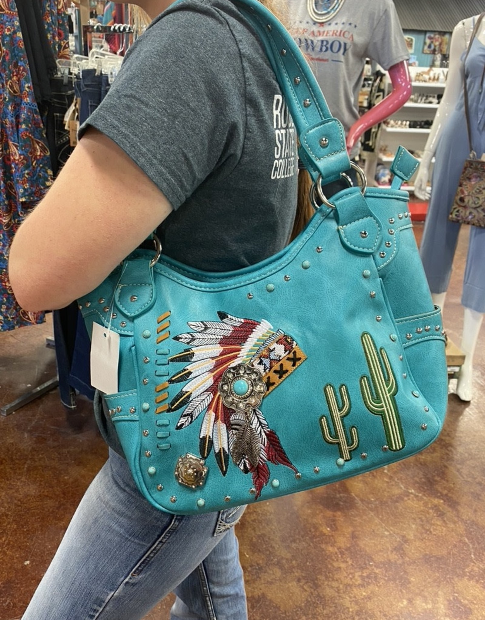 HEADDRESS PURSE LARGE TURQ CONCEAL CARRY