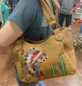 HEADDRESS PURSE LARGE TAN CONCEAL CARRY