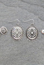 EARRING 3 PAIR SET WESTERN CONCHO