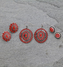 EARRING 3 PAIR SET RED CONCHO
