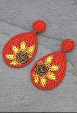 EARRING TEARDROP SUNFLOWER BEADED RED