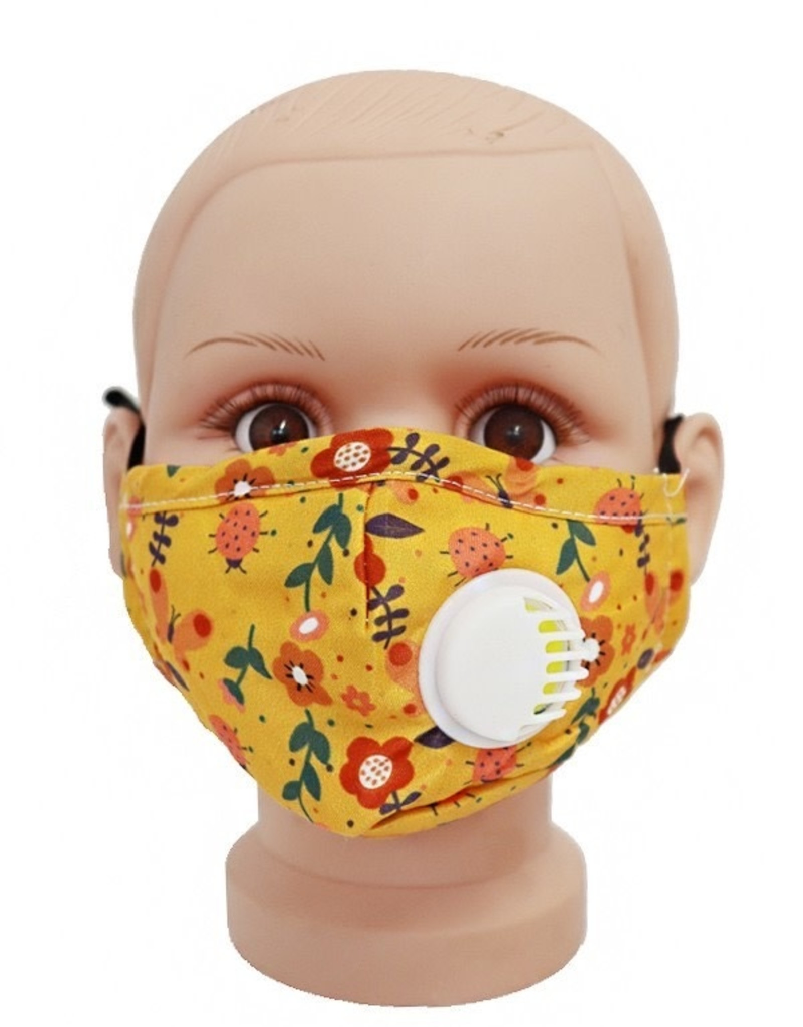 FACE MASK COTTON EZ BREATHE RESPIRATOR W/ FILTER POCKET CHILD GOLD FLOWERS