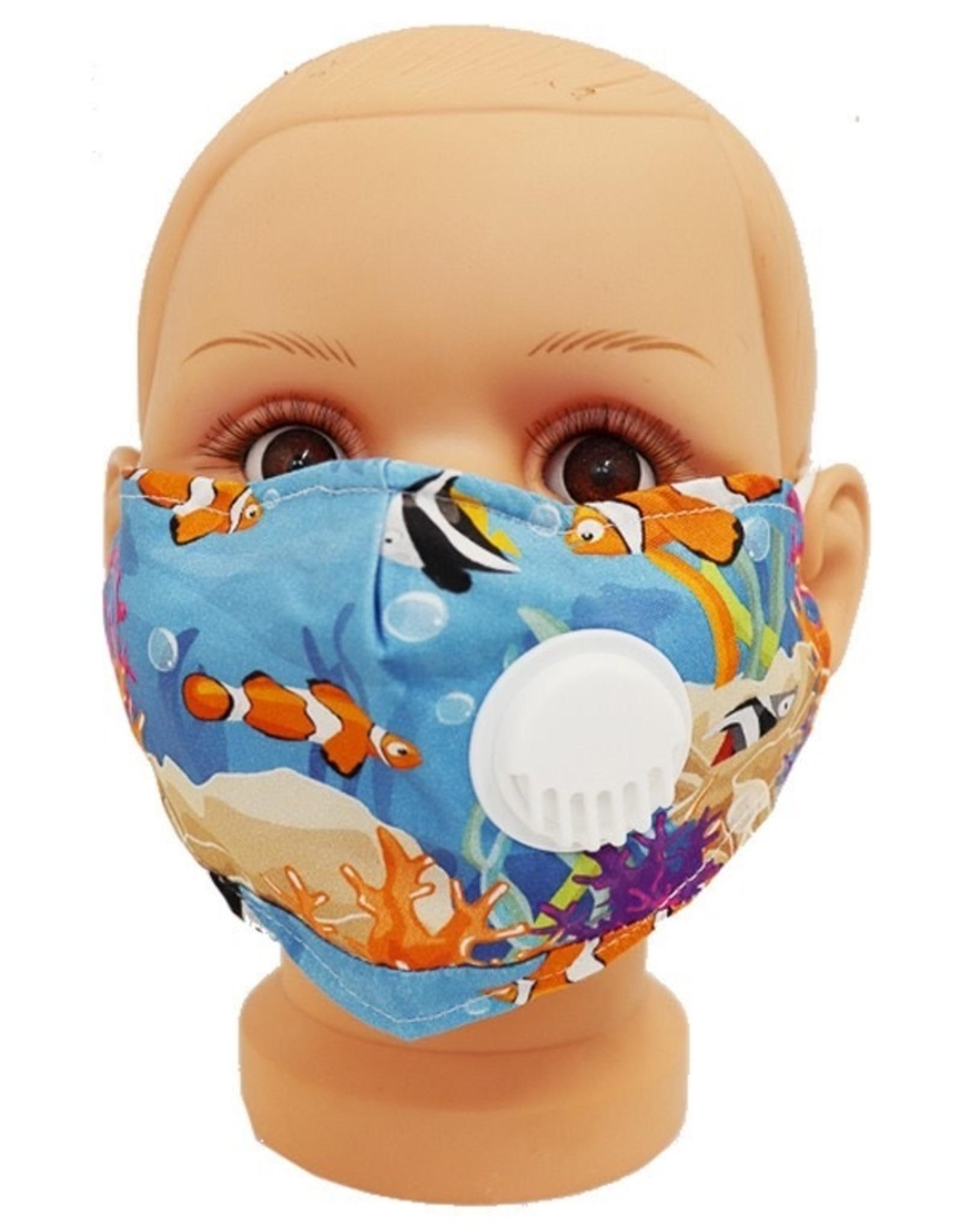 FACE MASK CHILD COTTON EZ BREATHE RESPIRATOR W/ FILTER POCKET BLUE FISH