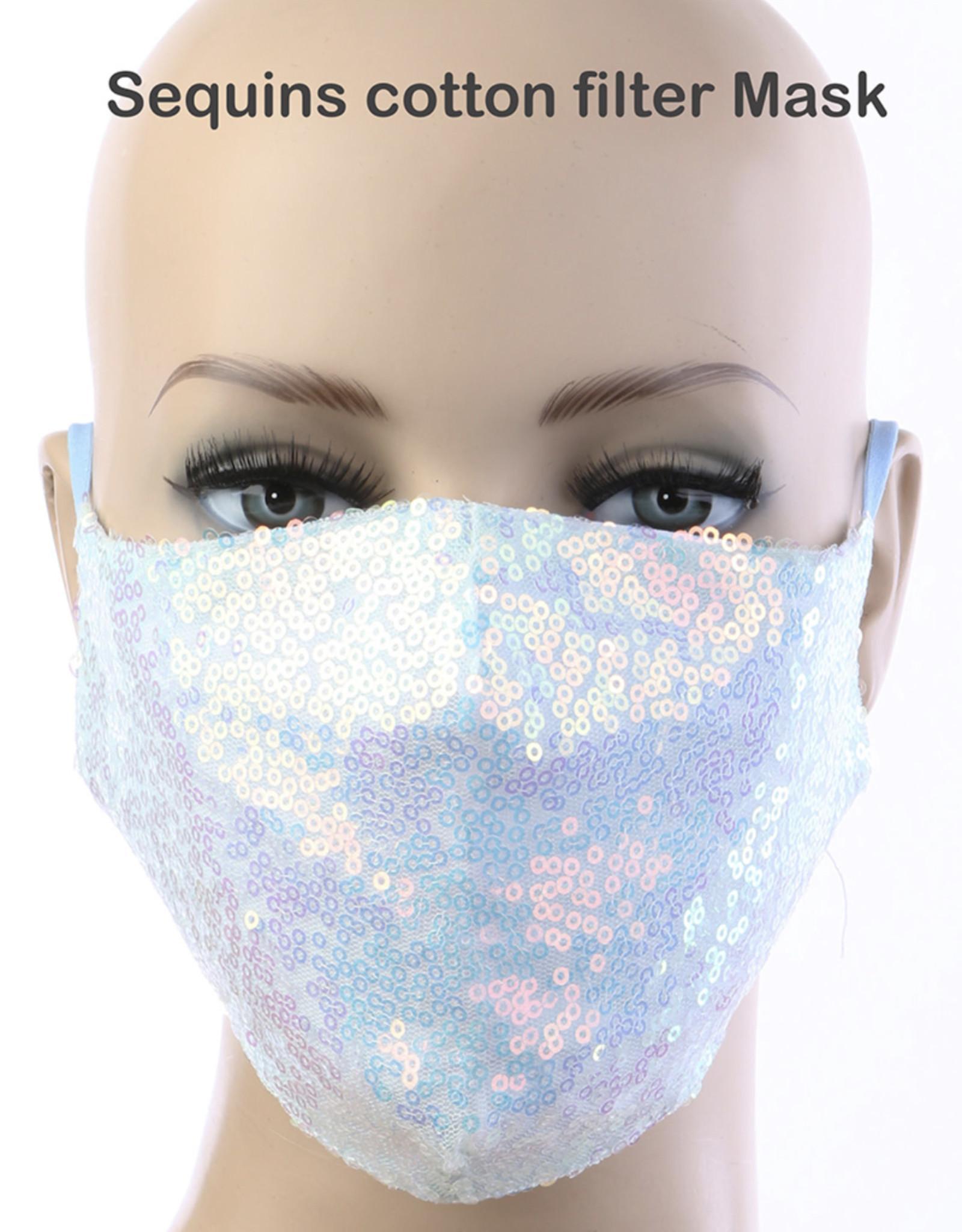 FACE MASK CLOTH W/ FILTER POCKET SEQUIN ADJUSTABLE REUSABLE WHITE MULTI HANDWASH