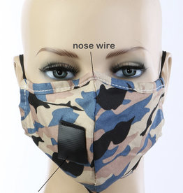 FACE MASK VELCRO STRAW HOLE FOR DRINKING CAMO BLUE TAN