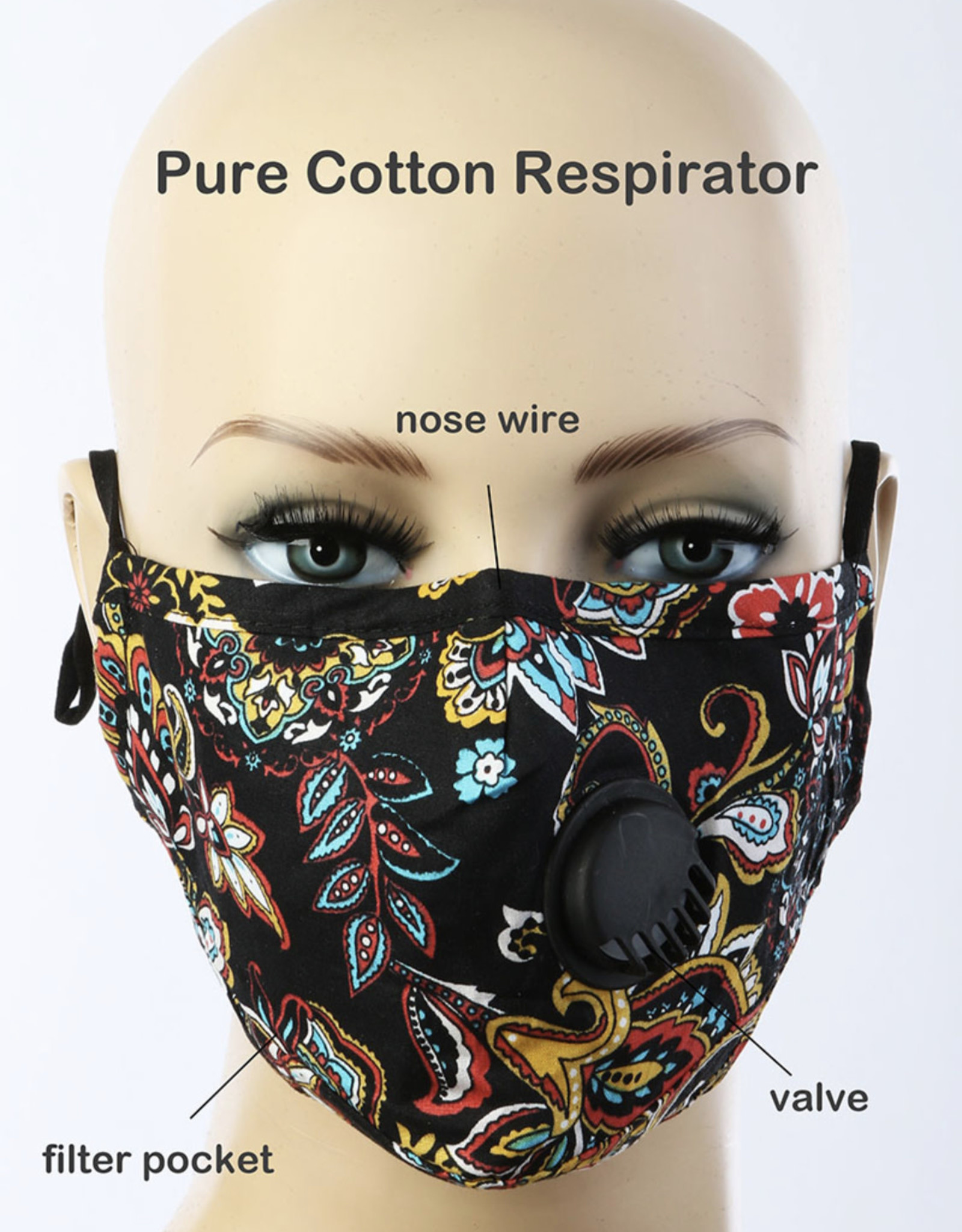 FACE MASK COTTON EZ BREATHE RESPIRATOR W/ FILTER POCKET BLACK PAISLEY FLORAL