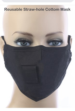 FACE MASK VELCRO STRAW HOLE FOR DRINKING BLACK