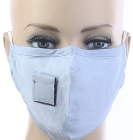 FACE MASK VELCRO STRAW HOLE FOR DRINKING LT BLUE
