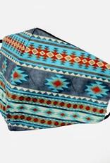 FACE MASK SATIN CLOTH W/ COTTON LINER FILTER POCKET WESTERN NAVAJO TURQ GRAY
