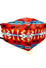 FACE MASK SATIN CLOTH W/ COTTON LINER FILTER POCKET WESTERN NAVAJO RED